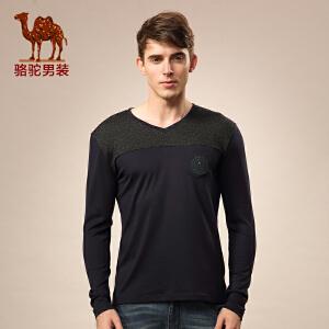 骆驼男装 秋冬季打底微弹V领绣花青春流行长袖T恤男