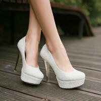 【支持礼品卡支付】女鞋韩版高跟鞋公主细跟超高跟鞋圆头单鞋女亮片婚鞋