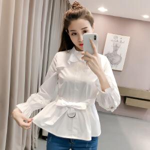 【满2件6折】白领公社 衬衫 女2017春款女装新款打底衫韩版学生老师衬衣白色衬衫女长袖宽松打底衫