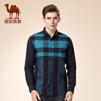 骆驼男装 新品秋冬款长袖修身渐变时尚格子日常衬衫衬衣男潮