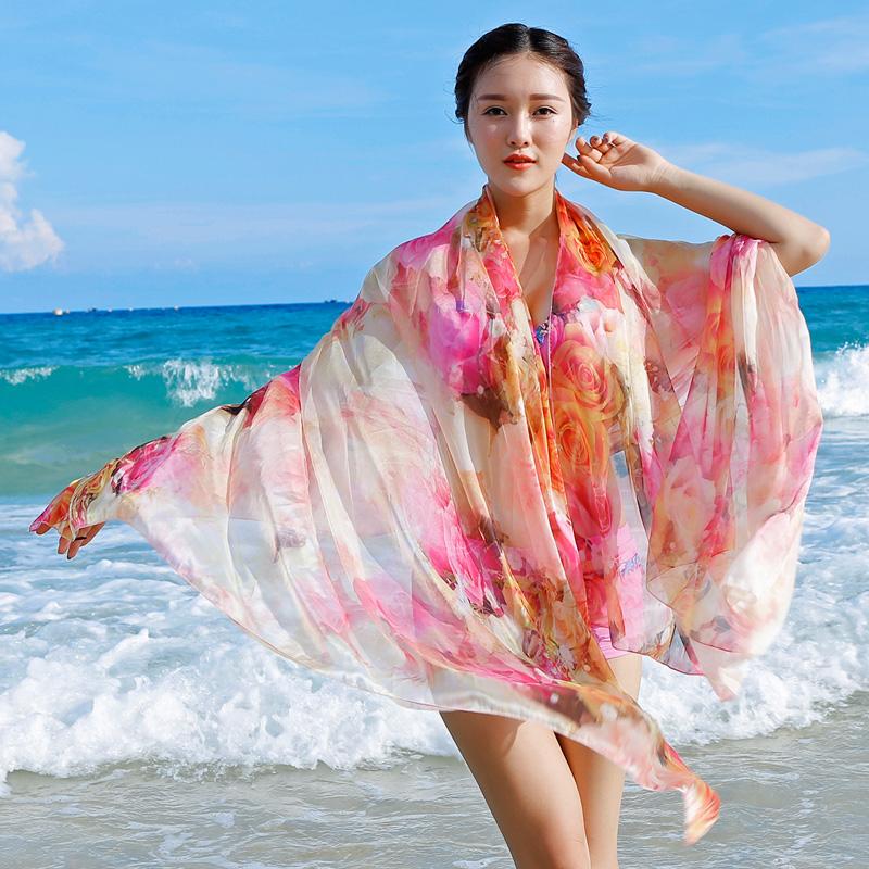 防晒丝巾 围巾雪纺纱巾新款 沙滩巾长空调披肩女披纱_sj927