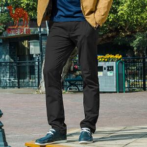 骆驼男装 新款微弹纯色中腰棉质直筒休闲裤 商务休闲长裤 男
