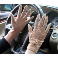 透气蕾丝蝴蝶结 女士遮阳手套 开车防滑 舒适手套
