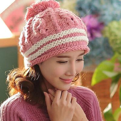 手工针织帽韩版大球毛线帽 女 双边树叶纹保暖帽子_粉色,均码(毛线有