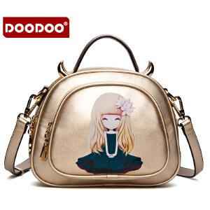 DOODOO 2017新款时尚包包女包甜美淑女插画潮流单肩斜跨女士包包 D5122 【支持礼品卡】