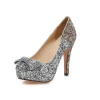 【支持礼品卡支付】女鞋韩版高跟鞋时尚公主鞋亮片渐变色性感单鞋婚鞋礼服鞋