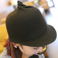个性时尚 女羊毛呢可爱短檐尖尖骑士礼帽 马术帽子