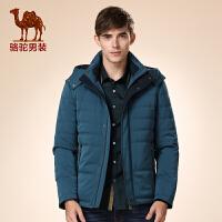 骆驼男装 冬装新款青年涤纶可脱卸帽拉链休闲纯色外套棉服男