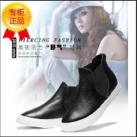 王菲儿女款真皮厚底女靴短靴高帮休闲单鞋踝靴学生鞋8803