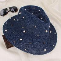 帽子英伦钉珠珍珠大檐礼帽防晒女士休闲时尚户外遮阳帽沙滩帽