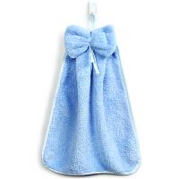 [当当自营]三利 珊瑚绒蝴蝶结挂式擦手巾 加厚不掉毛强吸水 浴室厨房居家多用途抹手毛巾 30×44cm 淡钢蓝