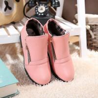 童鞋棉皮鞋真皮女大童短靴雪地靴休闲全牛皮女童低帮女靴