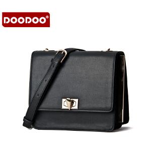 DOODOO 2017新款包包女包时尚欧美锁扣小方包休闲百搭单肩斜跨女士包包 D5118 【支持礼品卡】
