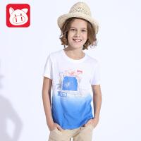 小猪班纳童装2017夏装新款儿童纯棉圆领上衣潮 中大童男童短袖T恤