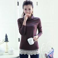新款韩版女士时尚休闲女装高领条纹加厚长袖打底衫棉T恤