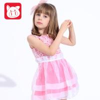 小猪班纳2017夏装新款童装儿童裙子中大童公主裙 夏季女童连衣裙