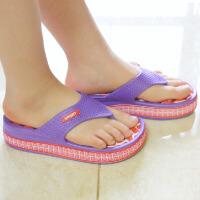 普润 女式居家高跟防滑按摩拖鞋 人字拖鞋 夏季休闲凉拖鞋 (红底紫边) 40码AB101-5