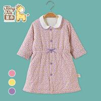 童泰秋冬新品婴儿夹棉睡袍宝宝保暖睡袋对开薄棉睡袋T80707