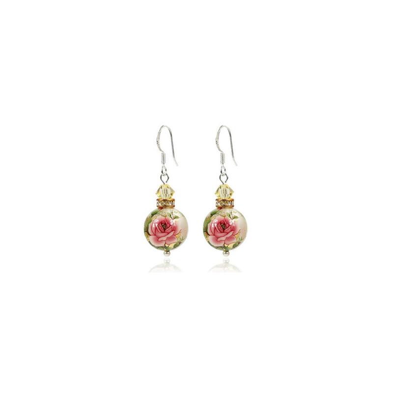 纯银 流苏 日本手绘珠与施华洛世奇 水晶耳环-tiomt 浪漫甜美项链