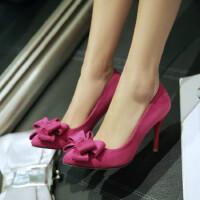 女鞋单鞋甜美韩版尖头蝴蝶结浅口细跟超高跟职业OL低帮绒面女鞋