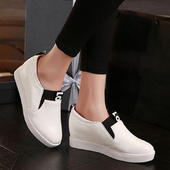 松糕鞋乐福鞋女厚底单鞋坡跟内增高休闲女鞋套脚单鞋