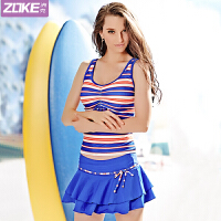 ZOKE洲克新款女式分体裙式三件套泳衣保守显瘦遮肚条纹温泉游泳衣115501338