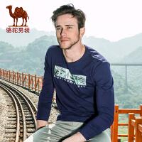 骆驼男装 春季新款微弹圆领印花棉质休闲长袖T恤衫 男士t恤