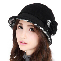 帽子女 韩版时尚礼帽保暖羊毛盆帽女新款