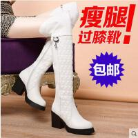 新款长靴女 高跟过膝靴瘦腿女靴子弹力靴粗跟时尚马丁鞋女鞋819-3