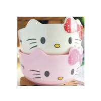 日照鑫 卡通hello kitty 凯蒂猫可爱密胺碗防摔儿童餐具 米饭碗 仿陶瓷碗(一个装)