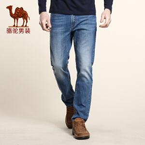 骆驼男装 春季新款微弹中腰棉质修身小脚长裤 猫须牛仔裤 男