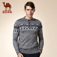 骆驼男装 秋冬季新款青年套头直筒圆领几何图长袖毛衣 羊毛衫