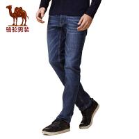 骆驼男装 新品秋款青年纯色猫须直筒青春流行长裤牛仔裤男士