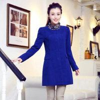 新款韩版女士大码时尚休闲女装呢大衣中长款修身毛呢外套
