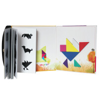 磁性艺术七巧板现代智力拼图拼板72道题3岁以上儿童玩具画板