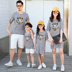 白领公社 亲子装 夏装一家三口母女母子装全家装家庭装男女童装卡通短袖T恤