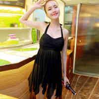 特价包邮 亦美珊泳衣女 平角分体裙式泳衣钢托遮肚 2015温泉游泳衣