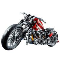得高积木科技拼装摩托车 男孩高难度机械组装模型车儿童玩具车模