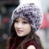 保暖护耳兔毛帽子新款时尚 保暖女士獭兔毛中老年人