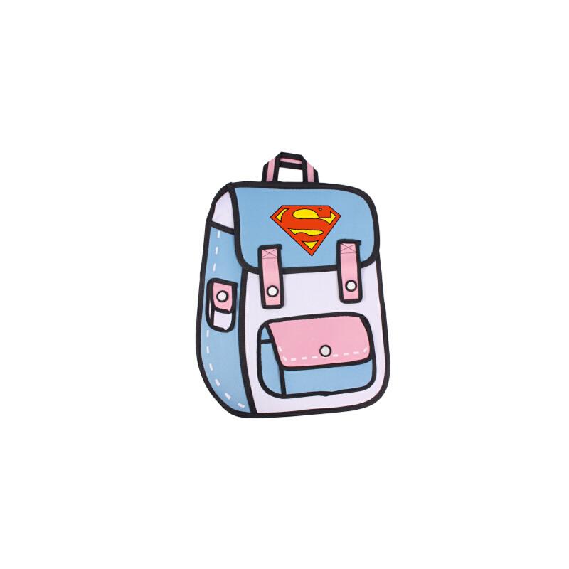 新款潮二次元漫画包超人夜光双肩包男女背包韩版可爱学生帆布书包_粉