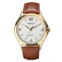 中老年人手表男士手表 复古女表老人手表 真皮皮带手表石英表男表