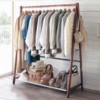 家逸 松木折叠衣帽架 简约现代实木落地挂衣架 收纳架客厅卧室墙角置物架