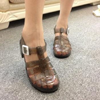 女士雨鞋欧美时尚鱼嘴鞋水钻高跟鞋休闲鞋女式包头单鞋子