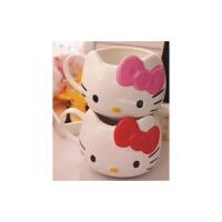 日照鑫  凯蒂猫kt猫Hello Kitty 猫头 陶瓷杯 喝水杯 茶杯 牛奶杯 办公杯(一个装)