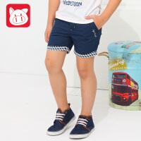 小猪班纳童装2017夏装新款中大童休闲裤子潮 夏季男童纯棉五分裤