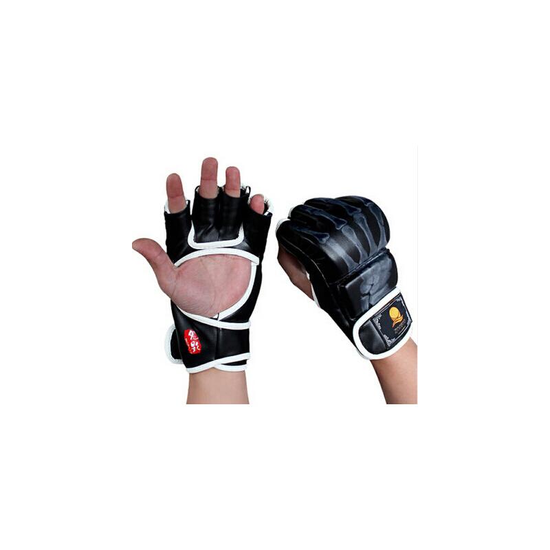 半指 击手套专业拳套搏 击泰 拳训练儿童散打拳_黑白色鬼手送护腕