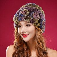 新款韩版獭兔毛皮草帽子 中老年女士时尚圆顶女帽