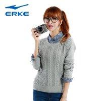 鸿星尔克新品女士韩版修身都市简约纯色圆领线衫针织衫FXP