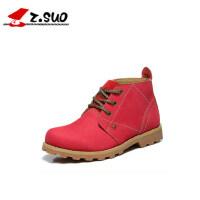 走索女鞋英伦风女靴工装鞋短靴平跟短筒靴单靴圆头马丁靴真皮zs9723