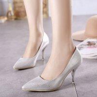 女高跟鞋尖头鞋浅口鞋细跟鞋银色婚鞋漆皮金色单鞋礼服鞋